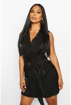 Womens Black Shimmer Sleeveless Belted Blazer Dress