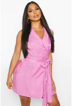 Pink Shimmer Sleeveless Belted Blazer Dress