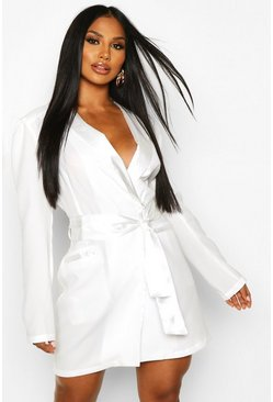 Dam Ivory Satin Detail Tie Front Blazer Dress