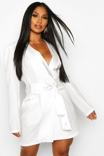 Womens Ivory Satin Detail Tie Front Blazer Dress
