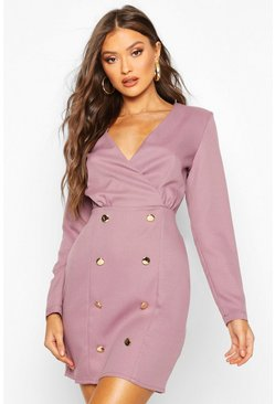 Mauve Collarless Blazer Dress With Button Detail