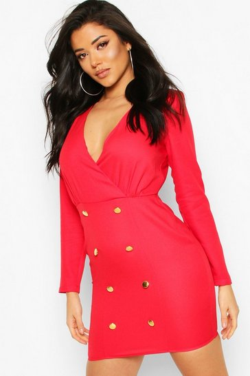 Red Collarless Blazer Dress With Button Detail