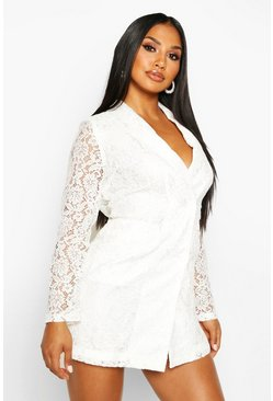Ivory Lace Blazer Dress