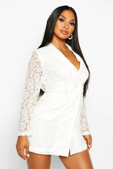 Womens Ivory Lace Blazer Dress