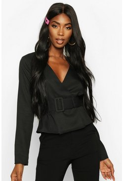 Womens Black Buckle Detail Wrap Top