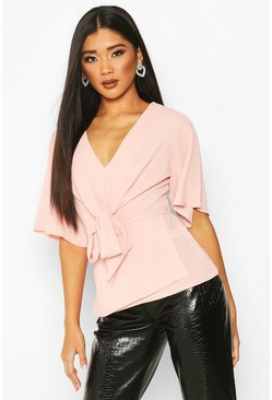 Blush Knot Front Woven Blouse