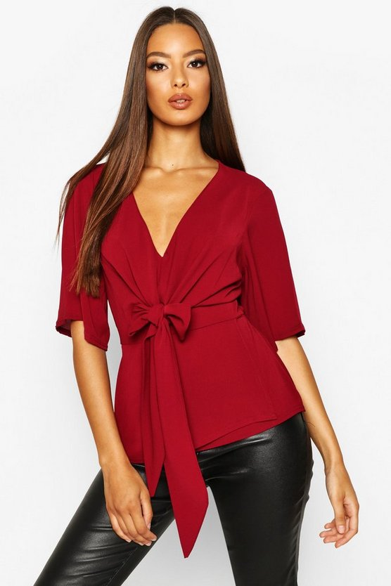 Womens Wine Knot Front Woven Blouse