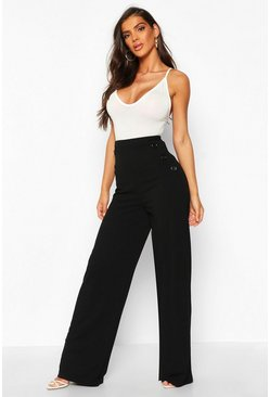 Womens Black Button Detail Wide Leg Trouser