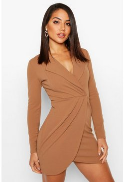 Camel Wrap Front Blazer Dress