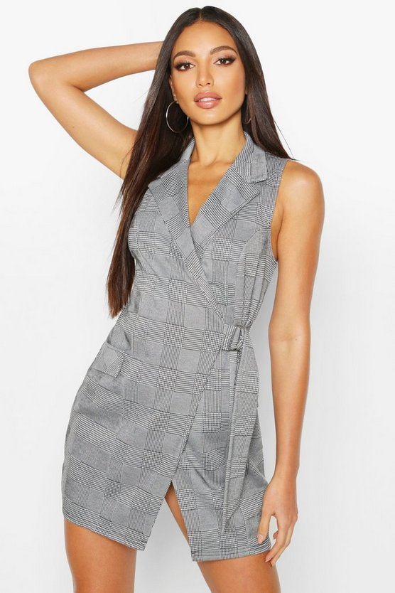 Check Sleeveless Wrap Blazer Dress