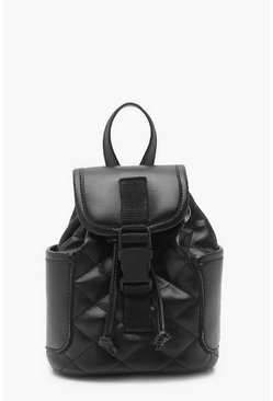 Womens Black Quilted Mini Plastic Buckle Rucksack