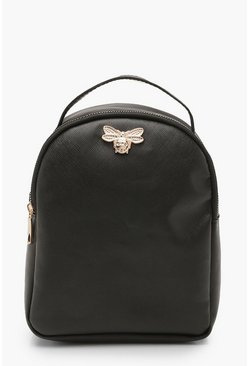 Womens Black Cross Hatch Metal Mini Bee Rucksack