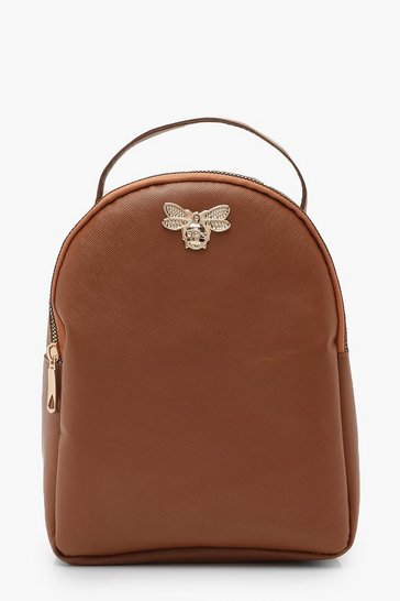Womens Tan Cross Hatch Metal Mini Bee Rucksack