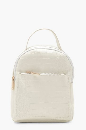 Womens White Croc Zip Front Mini Rucksack