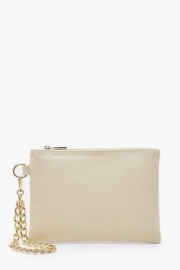 Womens Beige Cross Hatch Chain Handle Zip Top Clutch Bag