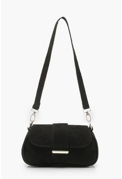Black Baguette Suedette Bag