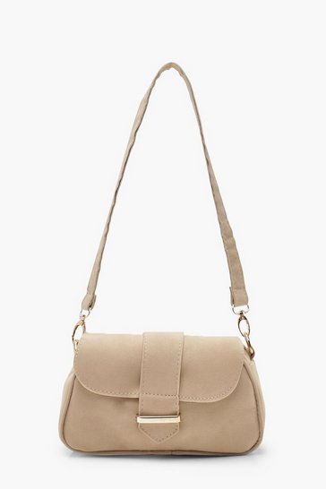 Womens Taupe Baguette Suedette Bag