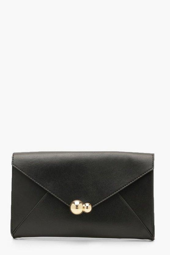 Oversized PU Clutch Bag & Chain