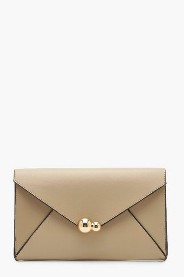 Womens Nude Oversized PU Clutch Bag & Chain