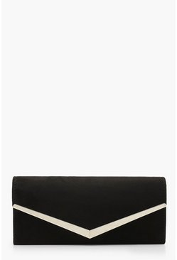 Womens Black Suedette Metal Trim Clutch Bag & Chain