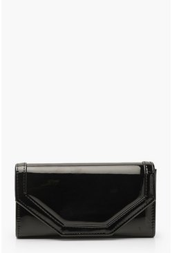 Patent Stitch Detail Clutch Bag & Chain, Black, ЖЕНСКОЕ