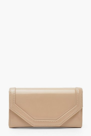 Womens Nude Patent Stitch Detail Clutch Bag & Chain