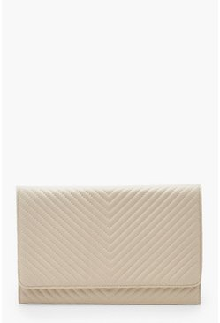 Womens Beige Chevron PU Quilted Clutch Bag & Chain