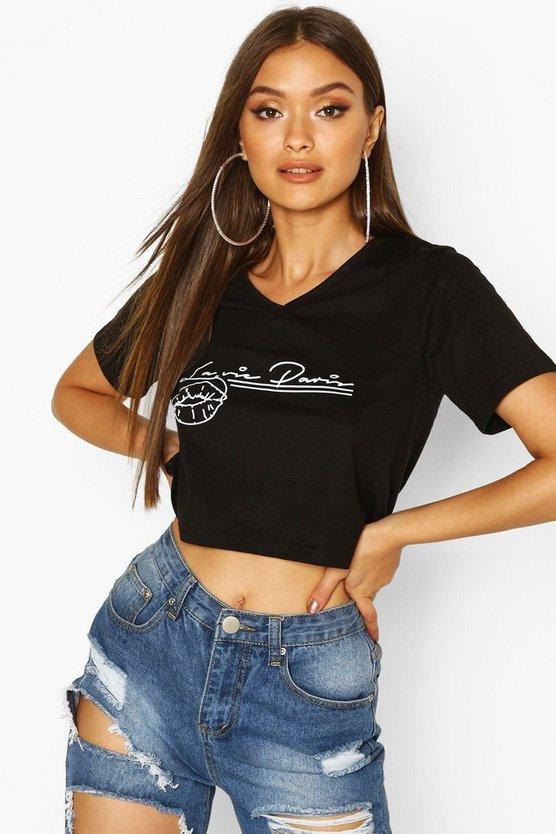 French Slogan Lip Print V Neck T-Shirt