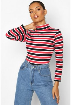 Womens Red Striped Roll Neck Rib Top