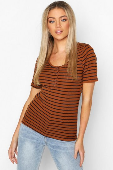 Womens Tobacco Stripe Rib Button T-Shirt