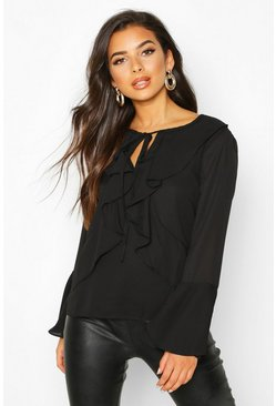 Womens Black Ruffle Front Flare Sleeve Blouse