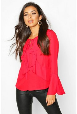 Red Ruffle Front Flare Sleeve Blouse