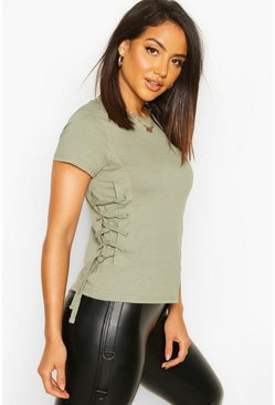 Sage Lace Up Side T-Shirt