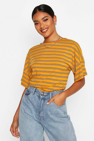 Womens Mustard Oversized Striped Rib T-Shirt