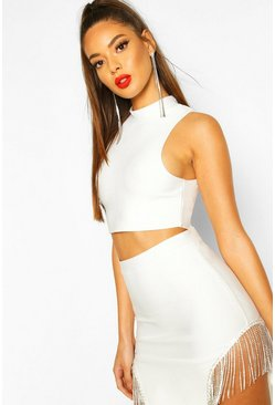 White High Neck Sleeveless Bandage Top