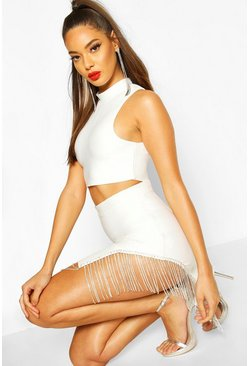 Womens White Jewel Fringe Trim Bandage Skirt