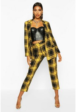 Womens Yellow Tartan Check Trouser
