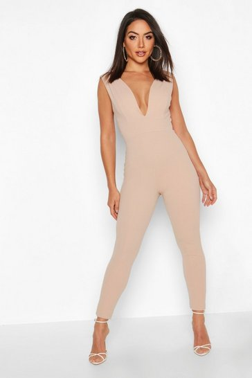 Womens Stone Contoured Plunge Jumpsuit
