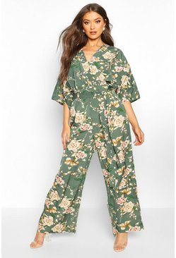 Womens Green Floral Batwing Jumpsuit