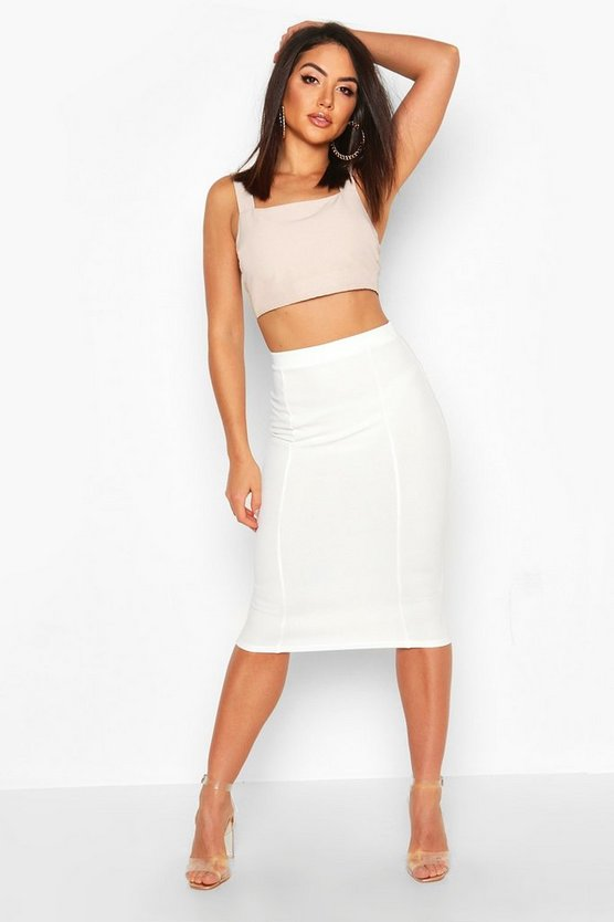 Womens White Contoured Midi Skirt