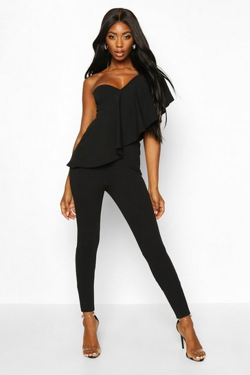 Womens Black One Shoulder Ruffle Jumpsuit