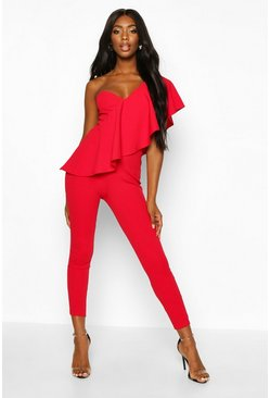 Red One shoulder-jumpsuit med volanger