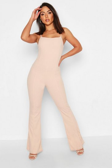 Womens Nude Contoured Square Neck Flare Jumpsuit