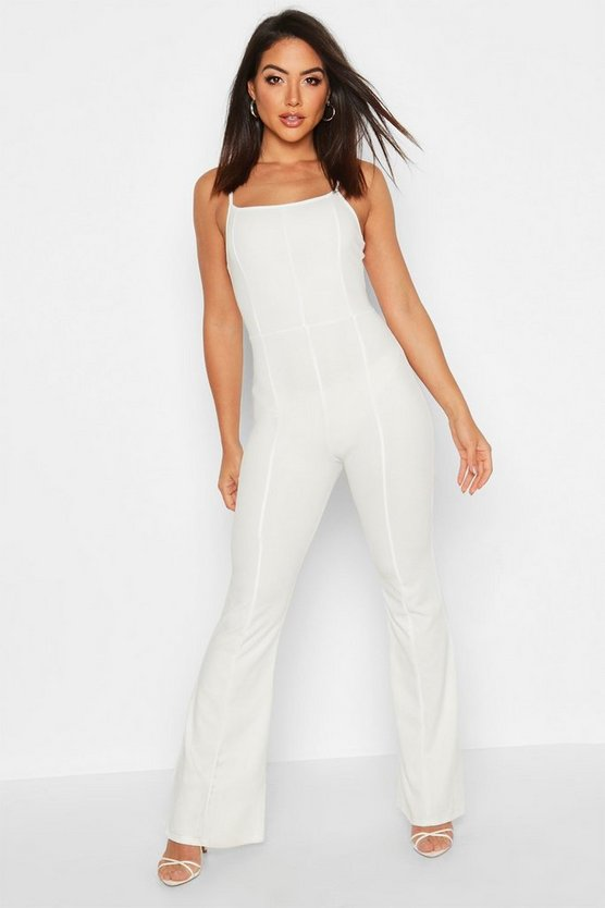 White Contoured Square Neck Flare Jumpsuit