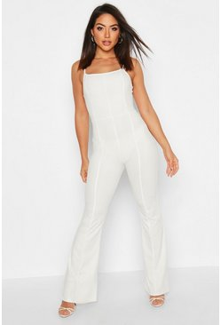 Womens White Contoured Square Neck Flare Jumpsuit