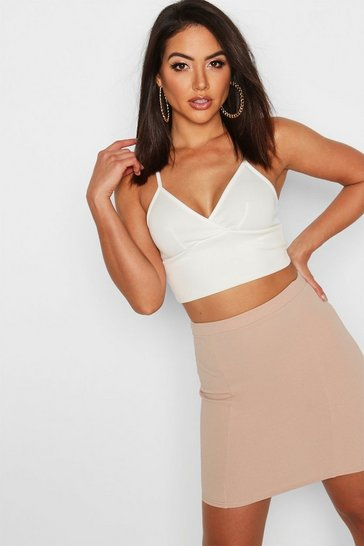 Womens Stone Contoured Mini Skirt