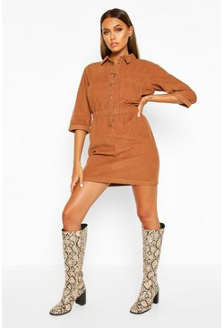 Womens Tan Cord Button Dress