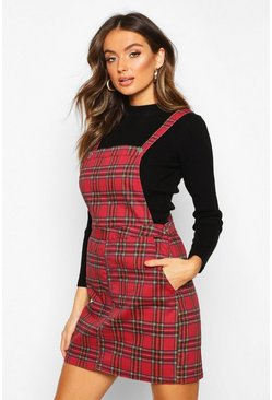 Robe chasuble en denim à carreaux tartan, Rouge, Femme