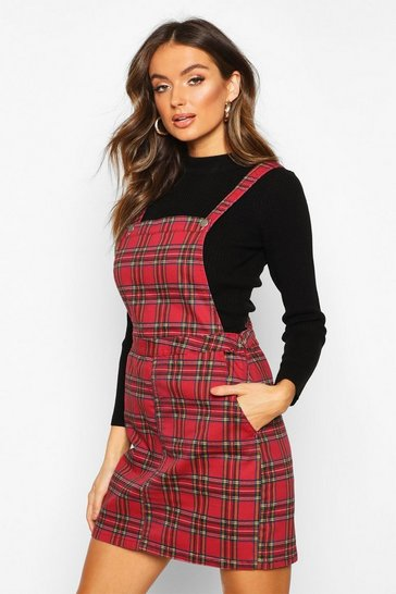 Womens Red Tartan Check Denim Pinafore Dress
