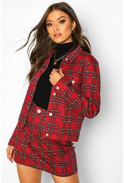 Womens Red Tartan Check Slim Fit Denim Jacket
